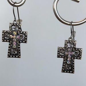 NEW Crystal & Silver Cross Earrings
